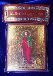 Икона с капсулой ПОКРОВИТЕЛЬ имени Св Павел 4х5 см, Освящена, Новая, Оберег