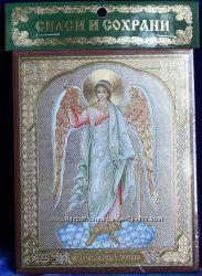Икона оберег Образ Ангел-Хранитель 10х12 см ЗолотО, освящена, новая