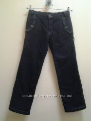 Черные джинсы на флисе, с утяжкой в поясе. Одягайко, р. 140см.