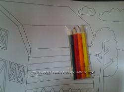 Набор антистресс Ферма. Раскраски 3, 5 метра и мини карандаши.