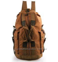 Тканевая большая мужская кожаная сумка - рюкзак. Трансформер. кожа-вставки