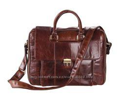 Кожаная мужская сумка для респектабельного мужчины. Темно - коричневая