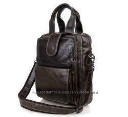 Очень удобная мужская сумка в руку и на плечо. Серый и коричневый цвета