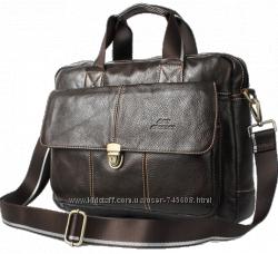 Кожаные мужские сумки богатого коричневого цвета. Разнообразные модели