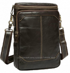 Удобная вместительная кожаная мужская сумка на плечо