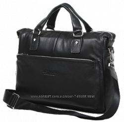Кожаная мягкая мужская сумка - портфель