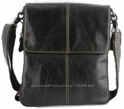 Мужская тёмно-коричневая кожаная сумка на плечо