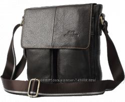 Мужская коричневая кожаная сумка на плечо