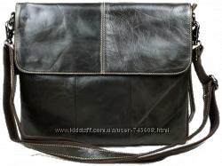 Тёмно-коричневая мужская сумка на плечо формата А4. Натуральная кожа