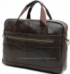 Вместительная мужская коричневая кожаная сумка - портфель