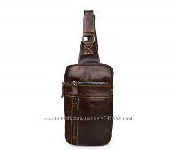 Кожаный мужской рюкзак на одну лямку. Сумка для путешествий
