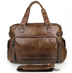 Кожаная мужская коричневая сумка для путешествий и для города