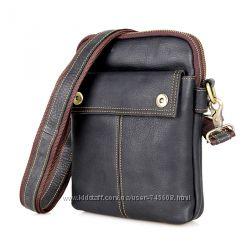Кожаные мужские сумки на плечо среднего размера