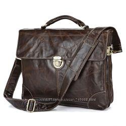 Шикарный мужской кожаный портфель. Высокое качество. Скидки