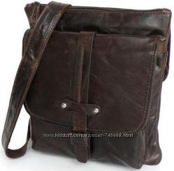 Кожаная мужская сумка на плечо коричневого цвета. Лидер продаж