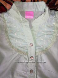 Блуза, блузка, рубашка для девочки цвета аквамарин, на 3-4 года тм Cherokee