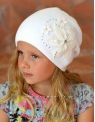Двойная деми шапка с цветком для девочек и девушек.