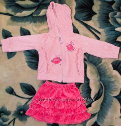 Велюровый костюм кофта и юбка Noy Noy, р. 9-12 мес. на рост 74 см, розовый