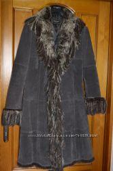 Замшевое пальто с канадской лисой США