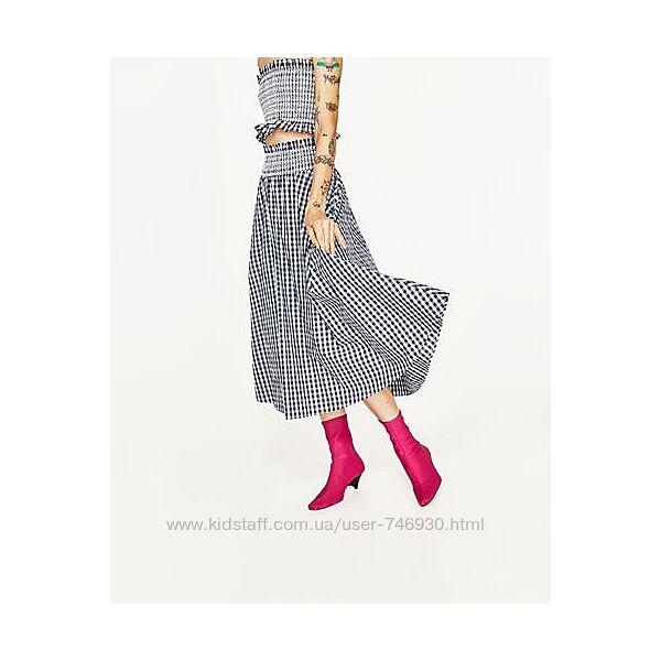 Zara пышная юбка клетка как у блогеров л-хл