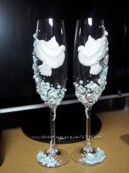 Свадебные бокалы Голубки
