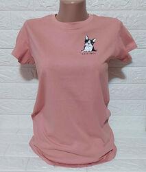 Розовая футболка на девочку принт собака Reserved
