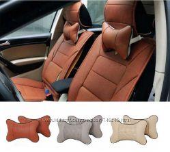 Подушка - подголовник в авто, подушка для безопасности. Коричневый.