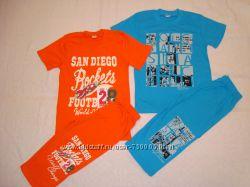 Комплект на лето футболка с бриджами для мальчика 5-8 лет. В наличии