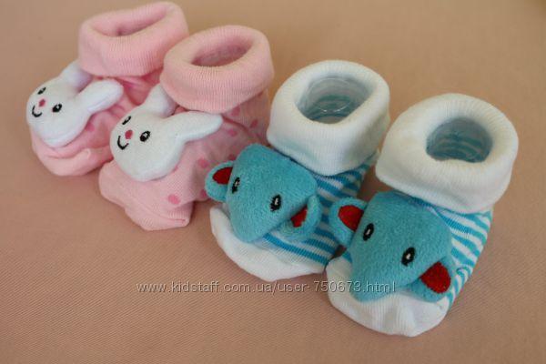 Носочки с погремушками и мордочками, 0-4 года