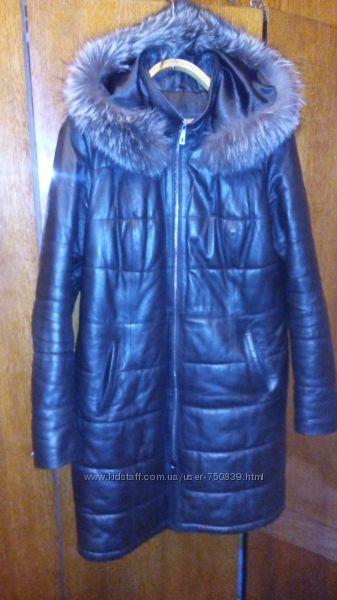 зимнее кожаное пальто на двойном синтепоне