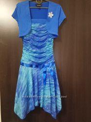 Платье праздничное сине-бирюзовое в блёстках на 10 лет, цена снижена