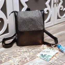 Рюкзак с клапаном, черный титан с серебряным или золотым узором