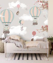 Фотообои Воздушные шары с милыми зверушками