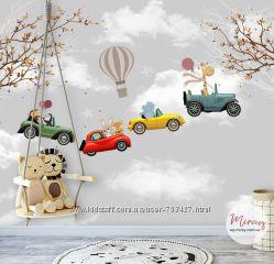 Детские фотообои Жираф и компания на автомобилях