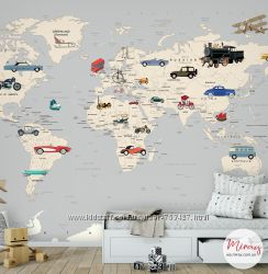 Детские фотообои Карта мира с автомобилями