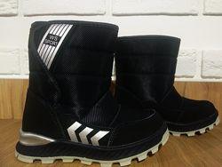 Детские термо ботинки для мальчика Weestep с овчиной синий цвет размер 27-3