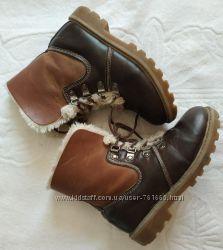 Кожаные коричневые зимние ботинки на шнурках -32 размер, 20 см стелька
