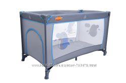 Манеж кроватка Baby Maxi BASIC серо-синий