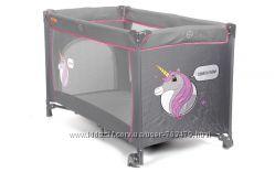 Манеж кроватка Baby Maxi BASIC серо-розовый