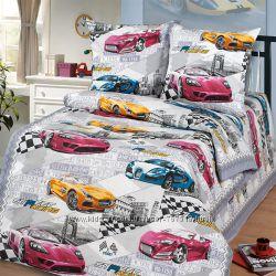 Детское постельное белье для мальчика, Мир авто, полуторное, в кроватку