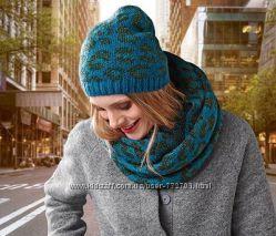 Отличный бирюзовый комплект шапка и шарф снуд Тсм Чибо.