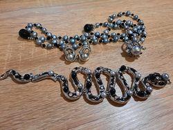 Комплект серьги кольцо браслет змея пояс жемчуг