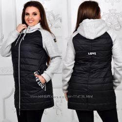 Удлиненная куртка love love с трикотажными рукавами и капюшоном. батал, 50