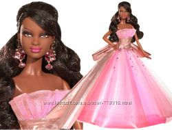 2009 Holiday Barbie Doll African American Christmas Model Muse Pink Gown
