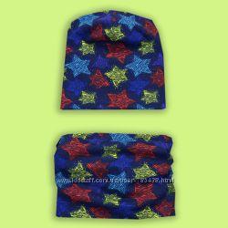 Комплект шапочка и шарф хомут, снуд для мальчика разные цвета