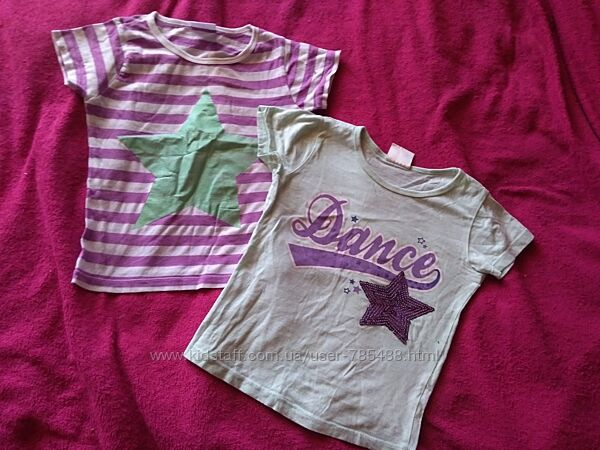 Красивые футболки 2шт мятная с пайетками и сиреневая полоска 4-6лет