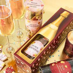 Набор 2в1 шоколад и чай в виде шампанского Ти моє кохання