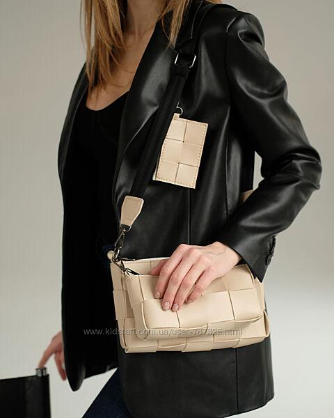 Женский плетеный комплект 3в1 сумка 3 сумки набор черная желтая бежевая
