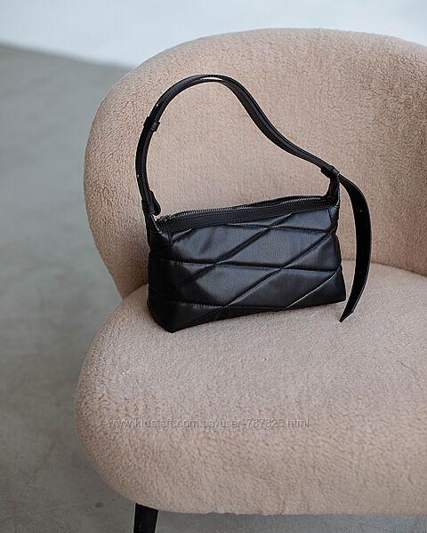 Сумка женская кросс-боди на плечо бежевая черная стеганая плетеная
