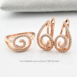 Набор Ницца, кольцо и серьги, Xuping, медицинское золото